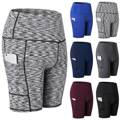 Women Gym Compression Yoga Pants Shorts Sports Fitness Running Pockets Trousers