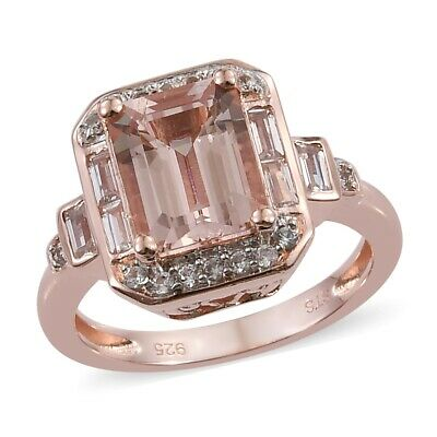 925 Sterling Silver AA Morganite Cubic Zirconia CZ Engagement Ring Size 8 Ct 2.7