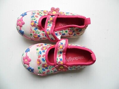 Walkright Pink And White Flowery Girls Pumps (Infant) UK 6 - FREE POST