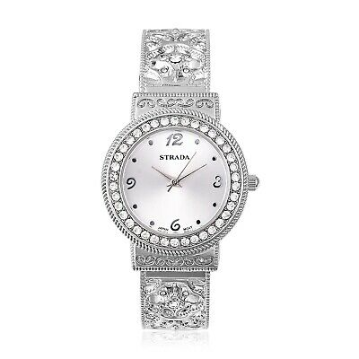 STRADA Crystal Japanese Movement Cuff Watch in Silvertone with Stainless Steel