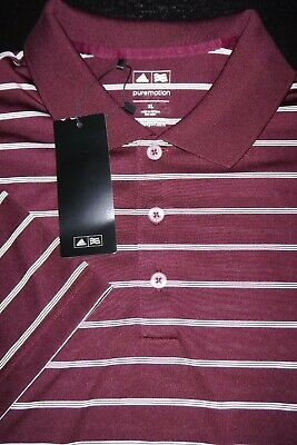 New! Adidas Golf Polo Shirt -Xl- Maroon White Stripe -Smooth Soft -Stretch