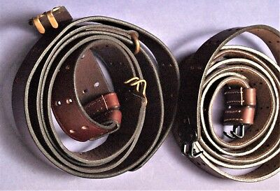 WWI/WW2  M1907 leather slings,  brass or black fittings, repro, unmarked(1)
