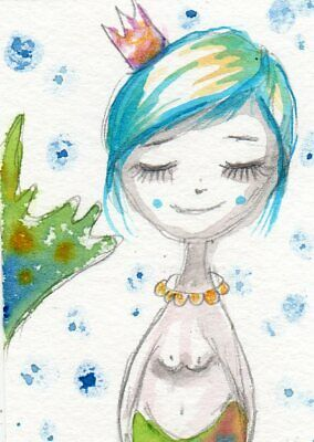 ACEO Original Painting Mermaid with Blue Hair tiny Whimsical Art by FAiRyPiGGleS