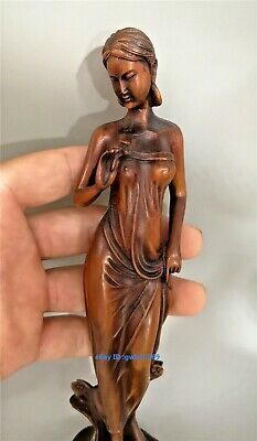 Collection unique Old chinese wood hand carved beauty maid boxwood Statue