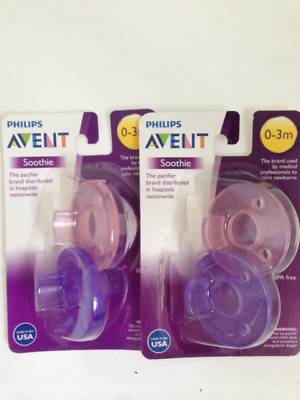Philips AVENT Soothie Dummy Pacifier Baby Pink/Purple, 0-3 Months  2 PACK X 2