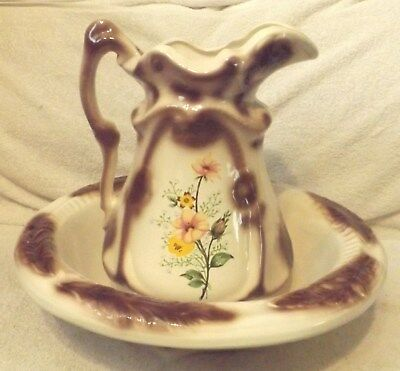 Vintage Ironstone Style--Floral Pitcher & Wash Basin Set-Very Nice-Great Patina