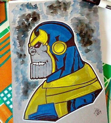 Thanos Commission A4 Marvel Comics Sketch Avengers Endgame Art Dessin Art Lot