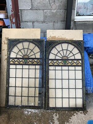 Pair Of Very Large art deco Leaded Stained Glass Panels