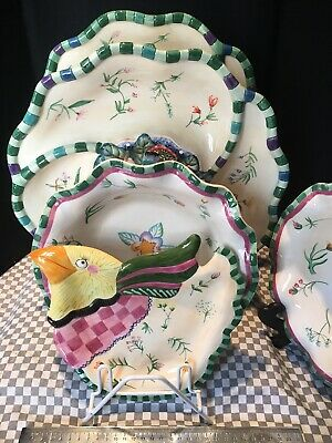 Fitz Floyd Essentials 5 pc Set Lot Serving Fish Bird Platters Bowles Plate