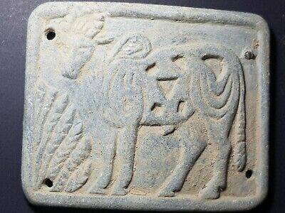 Very old neareastern sasanian chloride stone royal belt relief