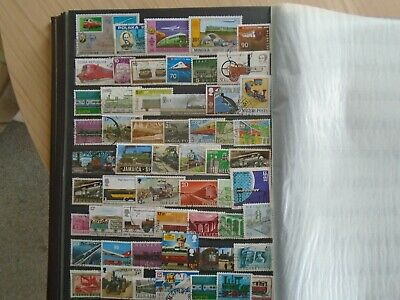 Trains.  Private worldwide collection of 56 different Stamps. High Values.