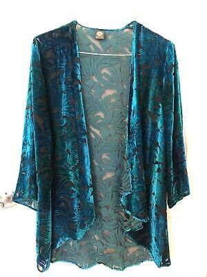 Cocoon House Turquoise, Blue, Green Silk Velvet Kimono Woman's Sz Med W/Scarf