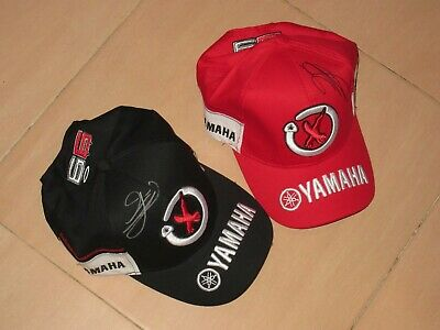 Jorge Lorenzo Signed Two Yamaha Moto Gp Personal Cap Official Product Very Rare!