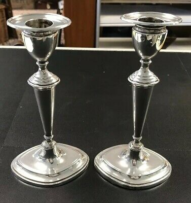 Antique Pair Of Sterling Silver Edwardian Table Candlesticks Sheffield 1911