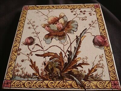 Antique Ceramic Floral Trivet Teapot Stand 1891 Rd No167334 Crazed Minor Nibbles