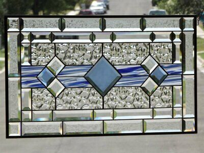 """Classic ( Vienna Blue )  Beveled Stained Glass Window Panel-≈28 1/2"""" x 16 1/2"""""""