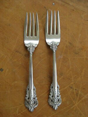 """PAIR of WALLACE Sterling Silver GRANDE BAROQUE Salad Forks 6 5/8"""" 85 Grams Total"""