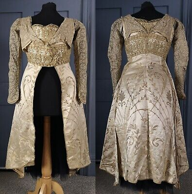 Early 1900s Art Nouveau Bodice / Metallic & Tambour Lace - Edwardian Antique