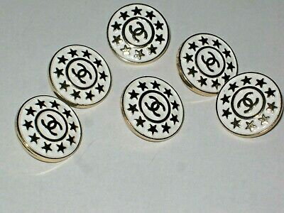 Chanel  buttons  set of 6 sz 18mm lot of 6 WHITE GOLD CC