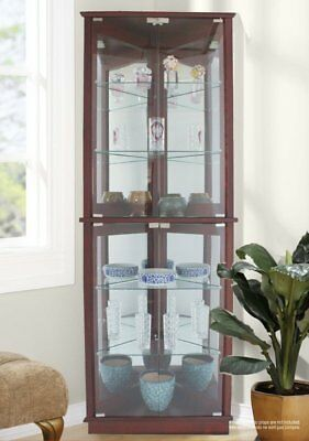 Cherry Lighted Glass 3-Sided Corner Display Curio Cabinet Furniture Home Living