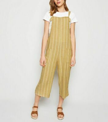 New Look Maternity Mustard Stripe Jumpsuit Dungarees Shorts Size 20 Bnwt