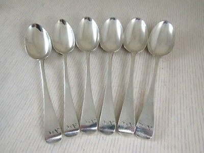 Antique Solid Silver  Set of 6 TEASPOONS  Hallmarked:-Sheffield 1831