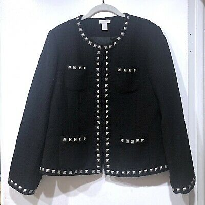 Chico's Boxy Black Jacket Silver Studs Classic Glam Shantal Textured Size 2/L