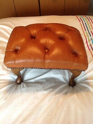 Brown Tan Leather Chesterfield Footstool Queen Anne Legs Pouffe