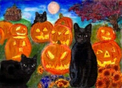 BCB Black Cats Club Halloween Pumpkins Print of Painting ACEO Golden Paw Charity