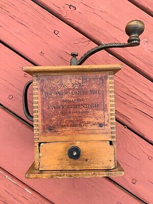 Primitive Antique  Coffee Grinder Wooden w/Iron Crank and Drawer Works perfect!