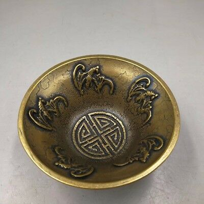 Chinese Antique Old copper handmade bat bowl