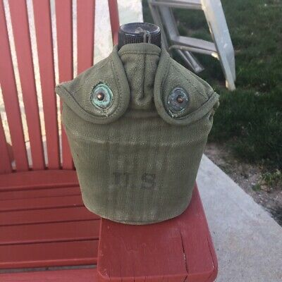 JQMD 1951 US Army Korean War Era Canvas Canteen Cover w/ 1944 Canteen and Cup.