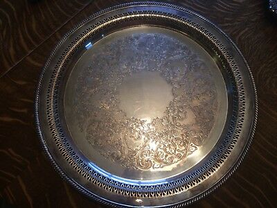 Vintage Wm. Rogers Silver Plate Serving Tray/Platter  aprox15 inch Round  #162