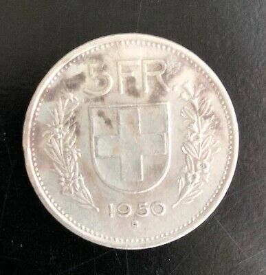 1950 Switzerland Founding HERO WILLIAM TELL 5 Francs Silver Swiss Coin