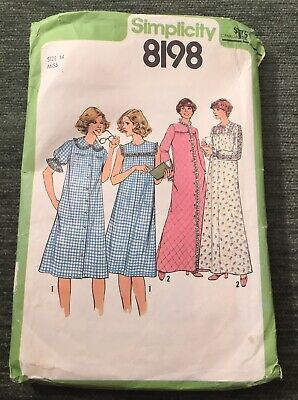 Vintage Simplicity Sewing Pattern 8198 Nightgown Robe Housecoat Dress Misses -14