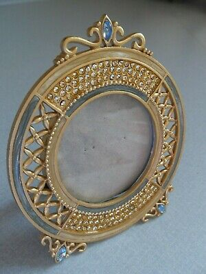 "Enamel Jeweled Round Photo Picture Frame Clear Rhinestones Gold Metal 4"" Dia."