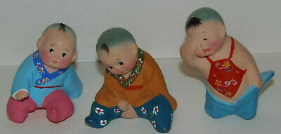 Asian Chinese Clay Figurines Hand Painted Baby boys-Set of three