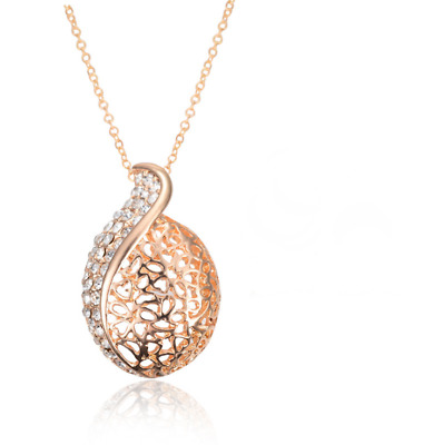 Clear Round Rhinestone Rose Gold Plated Lady Pendant Chain Necklace Jewelry