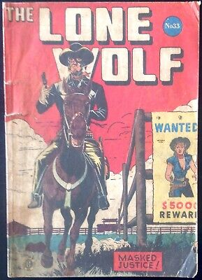 THE LONE WOLF # 33 1950's GOLDEN AGE AUSTRALIAN DRAWN  COMIC