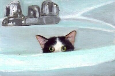 BCB Alfalfa Tuxedo Kitten in Sink Print of Painting ACEO Golden Paw Cat Charity