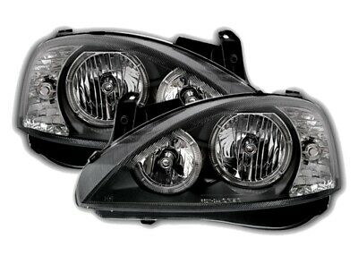 Pair Headlights Opel CORSA C 00-06 Halo Rims Black DEPO TUNING NL LPOP93EN XINO