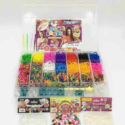 7800pcs Large Rainbow Loom Band Case Kit Bands Beads Board Hook S-Clips Charms