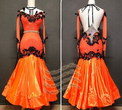 B8127 Ballroom Women Tango Waltz dance Competition dress UK 10 US 8 orange