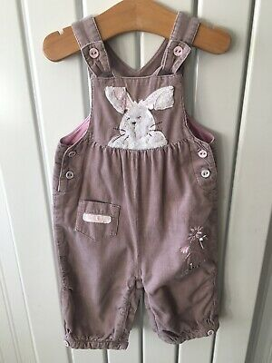 Baby Girl's Clothes 3-6 Months - Brown Corded Bunny Theme Dungarees By NEXT