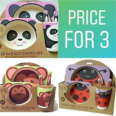 Rocket And Rye Bamboo Childrens Kids Dinner Set X 3 Christmas Gift Price for 3