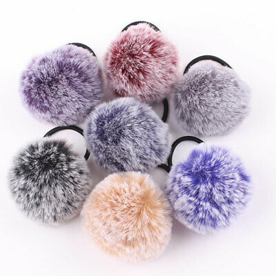 Sweet Faux Rabbit Fur Ball Hair Rope Scrunchies Hair Ties Ponytail Rubber Bands