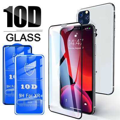For Apple iPhone 11 Pro Max X XS XR 7 8 10D Full Tempered Glass Screen Protector