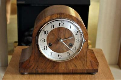 Working German Vintage Walnut Cased Mantel Clock By H.A.C With RACK Movement