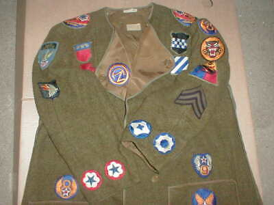 Vtg WWII WW2 Army Jacket Patch Lot AIRBORNE Rangers 8th Air Force 5th Armored