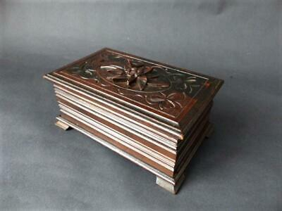 Antique Black Forest Trinket Box  Eidelweiss Finial / Boxes / Woodenware